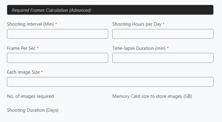 Advance Required Frames Calculator
