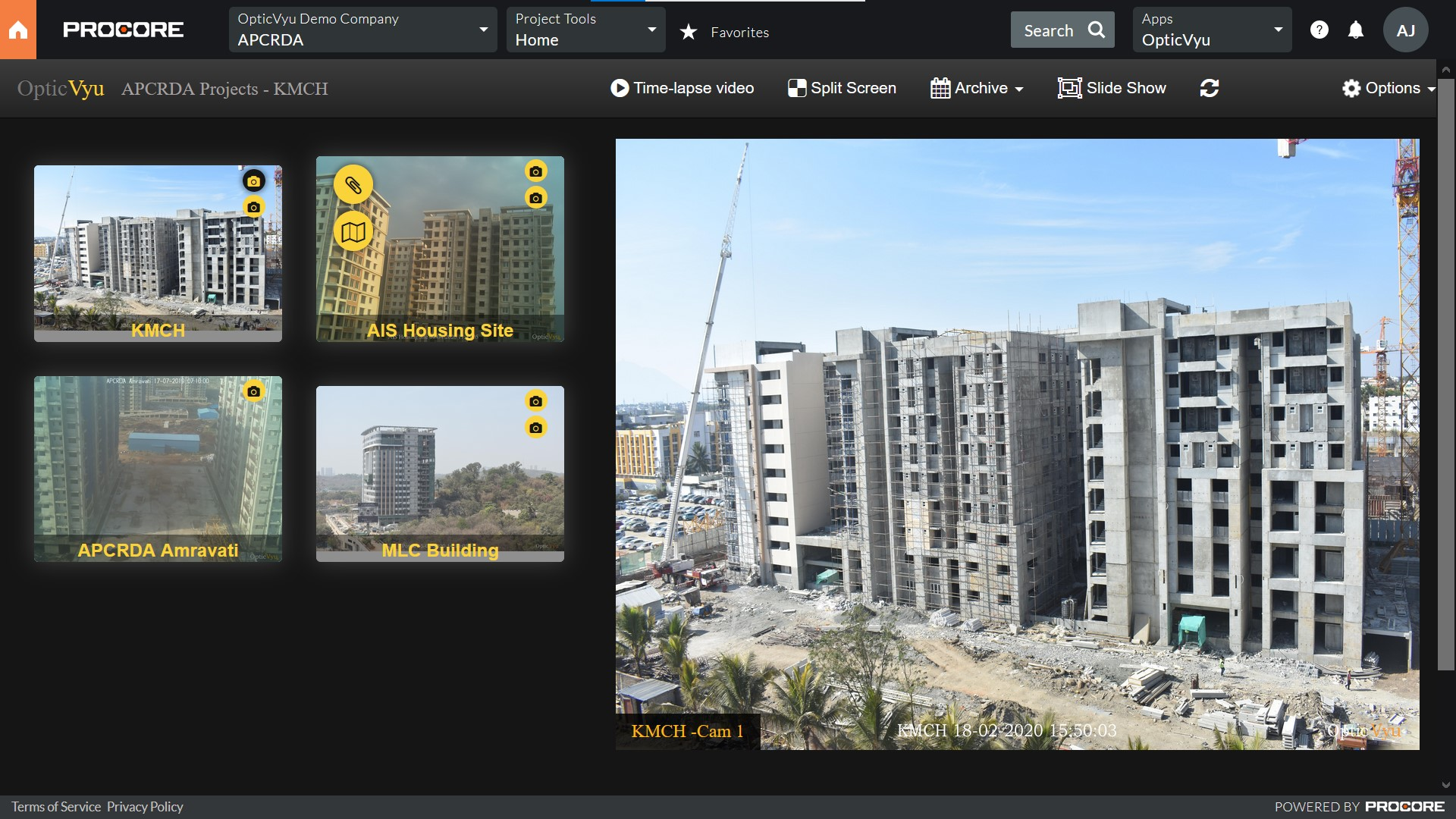 opticvyu embedded app procore integration